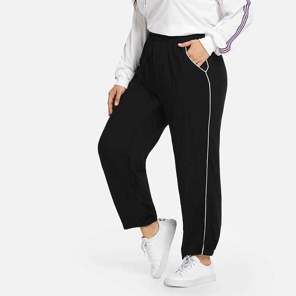 Plus Slant Pocket Elastic Waist Pants - Shein - GOOFASH