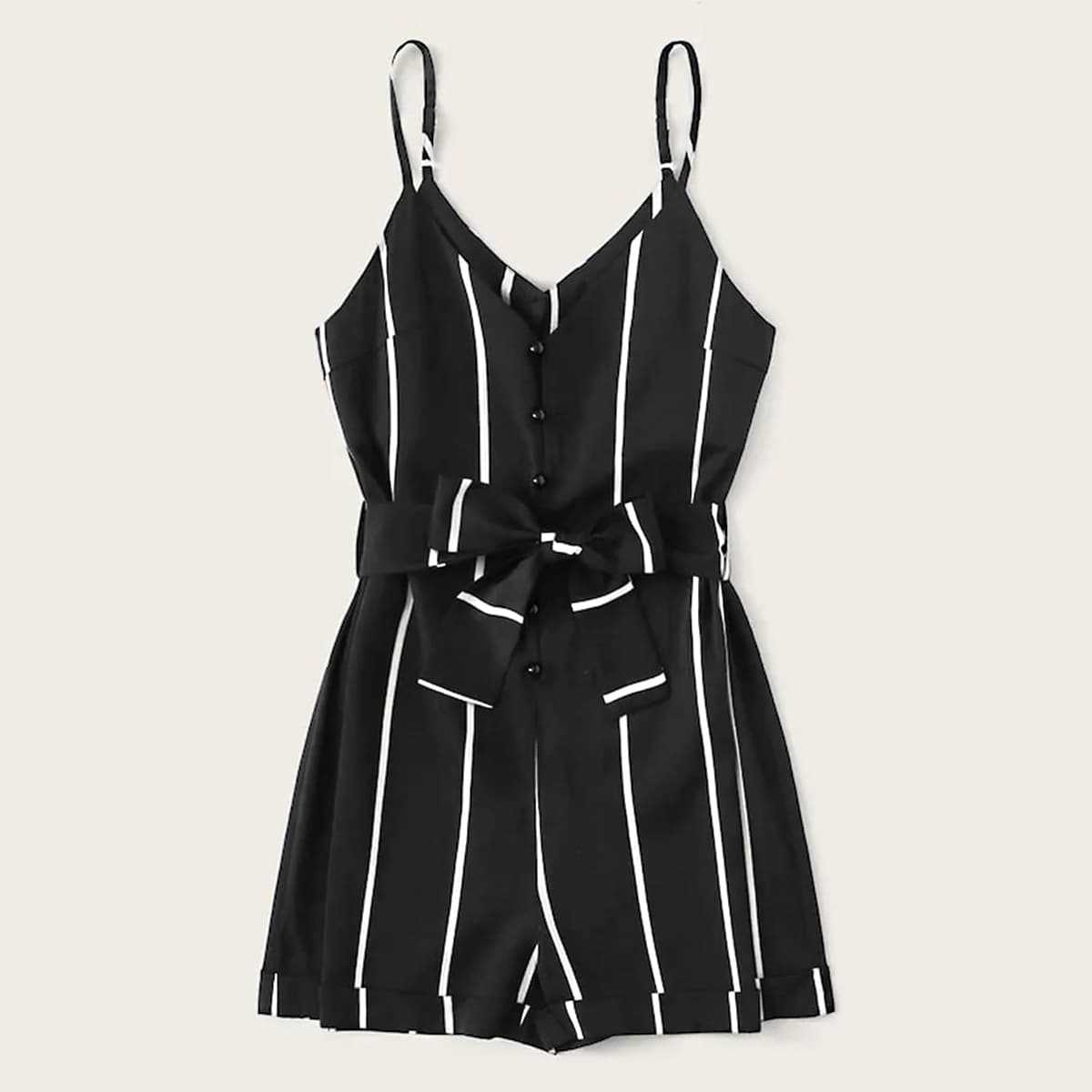 Plus Striped Button Belted Cami Romper in Black by ROMWE on GOOFASH