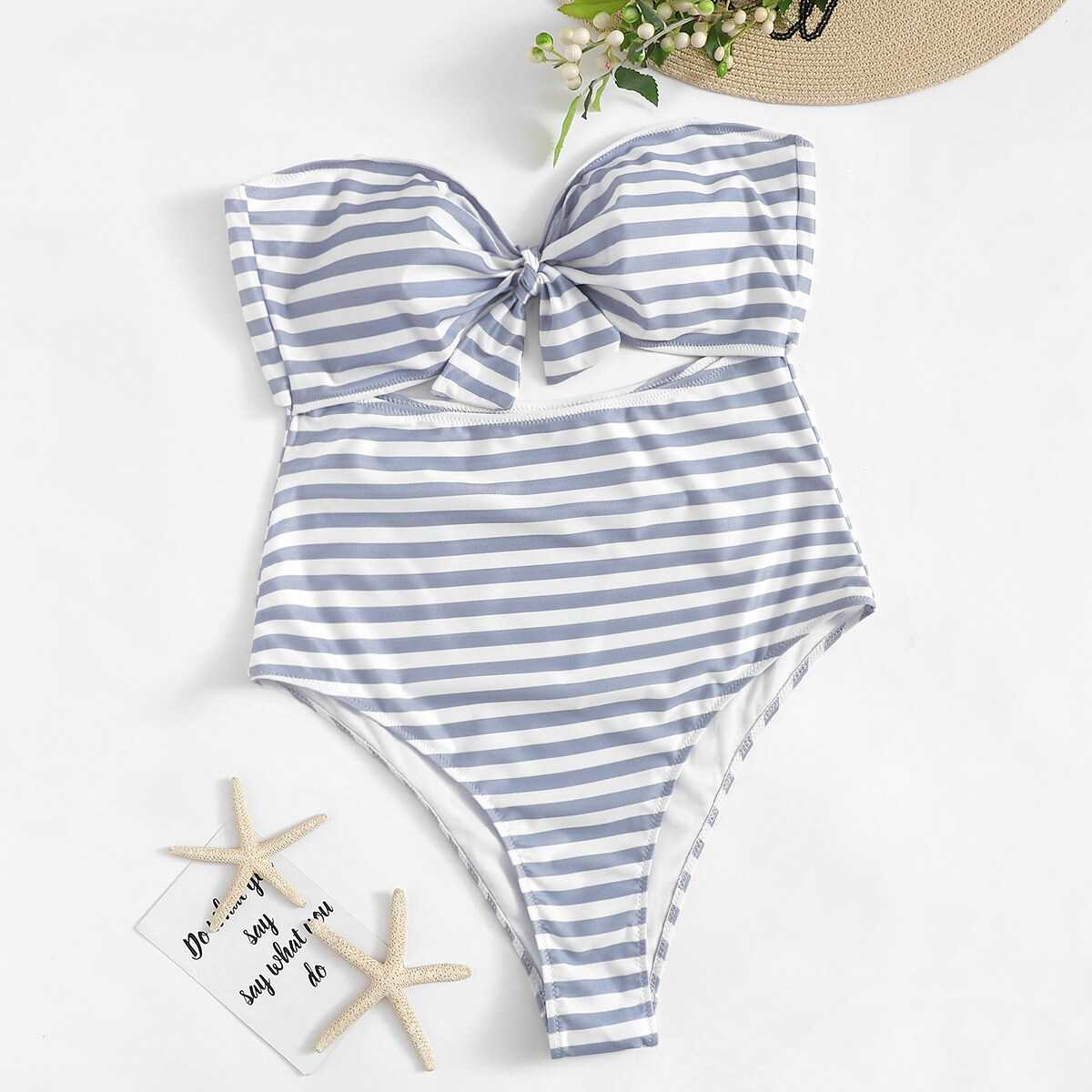 Plus Striped Cut-out Knot Front Bandeau One Piece Swimwear - Shein - GOOFASH