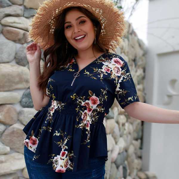 Plus Zipper Floral Print Shirred Blouse in Multicolor by ROMWE on GOOFASH