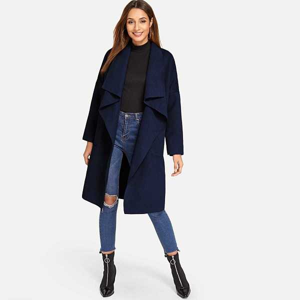 Pocket Front Belted Waterfall Coat - Shein - GOOFASH