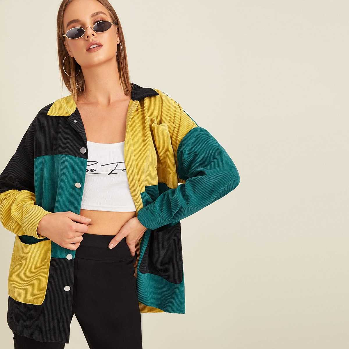 Pocket Front Colorblock Cord Coat in Multicolor by ROMWE on GOOFASH