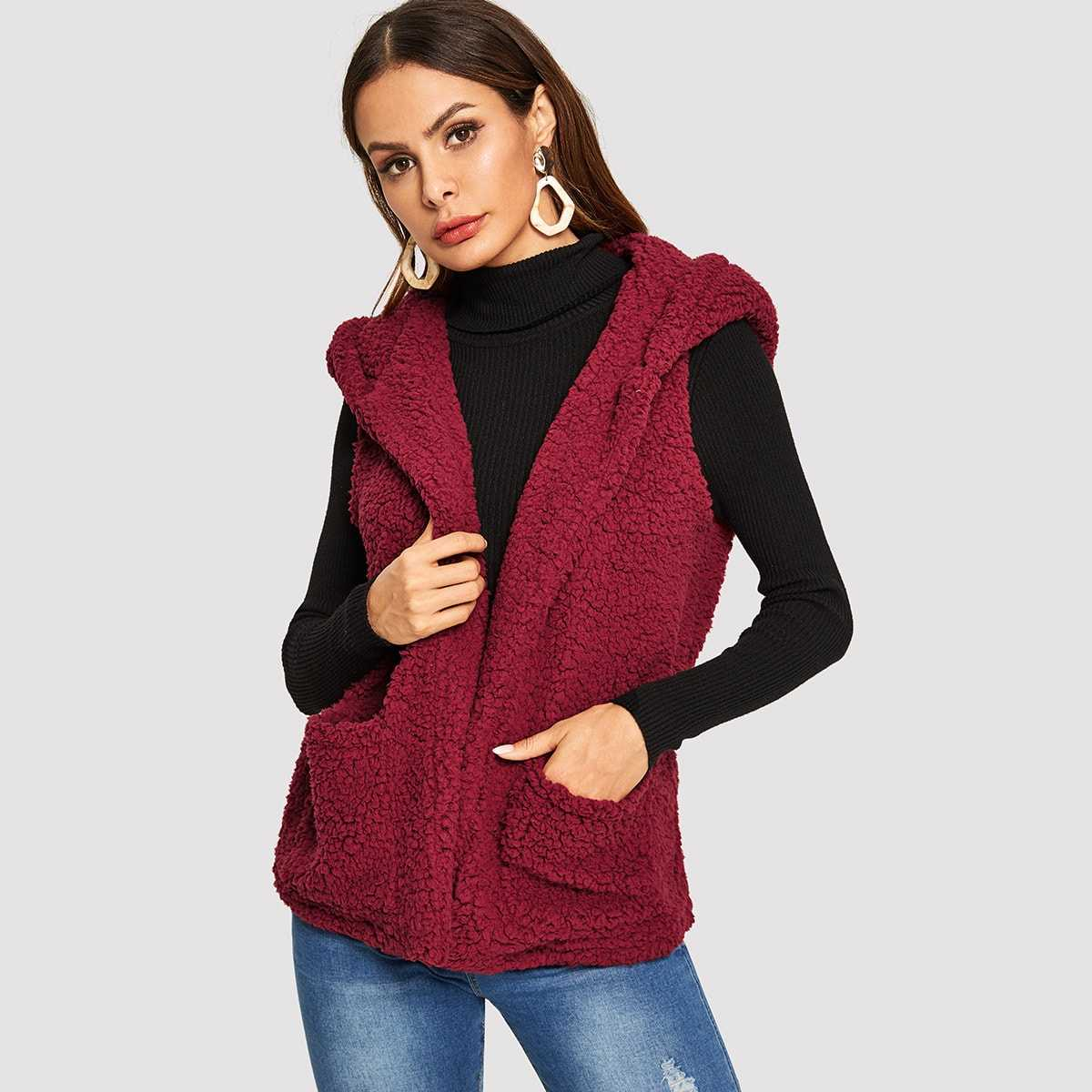 Pocket Front Hooded Shell Teddy Coat in Burgundy by ROMWE on GOOFASH