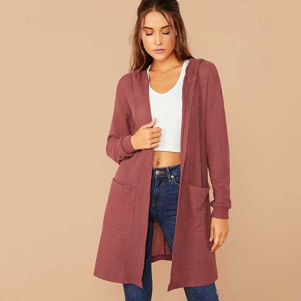 Pocket Front Waffle Knit Hooded Coat in Pink by ROMWE on GOOFASH