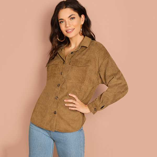 Pocket Patched Button Up Utility Jacket - Shein - GOOFASH