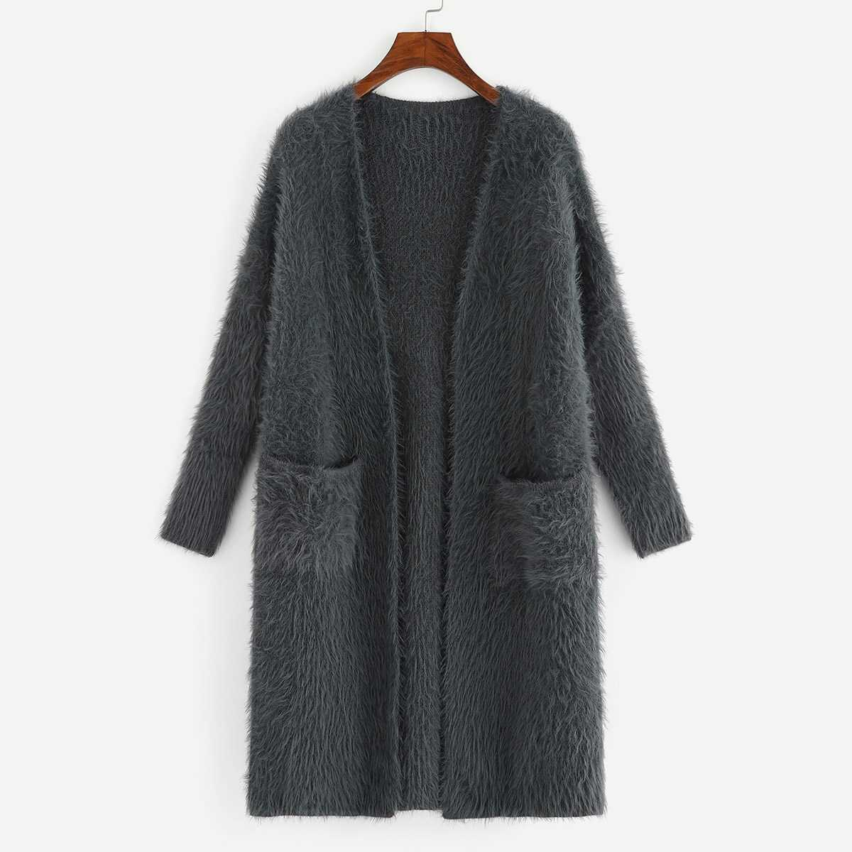 Pocket Patched Open Front Fuzzy Cardigan - Shein - GOOFASH