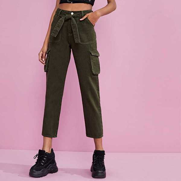 Pocket Side Belted Cargo Jeans in Army Green by ROMWE on GOOFASH