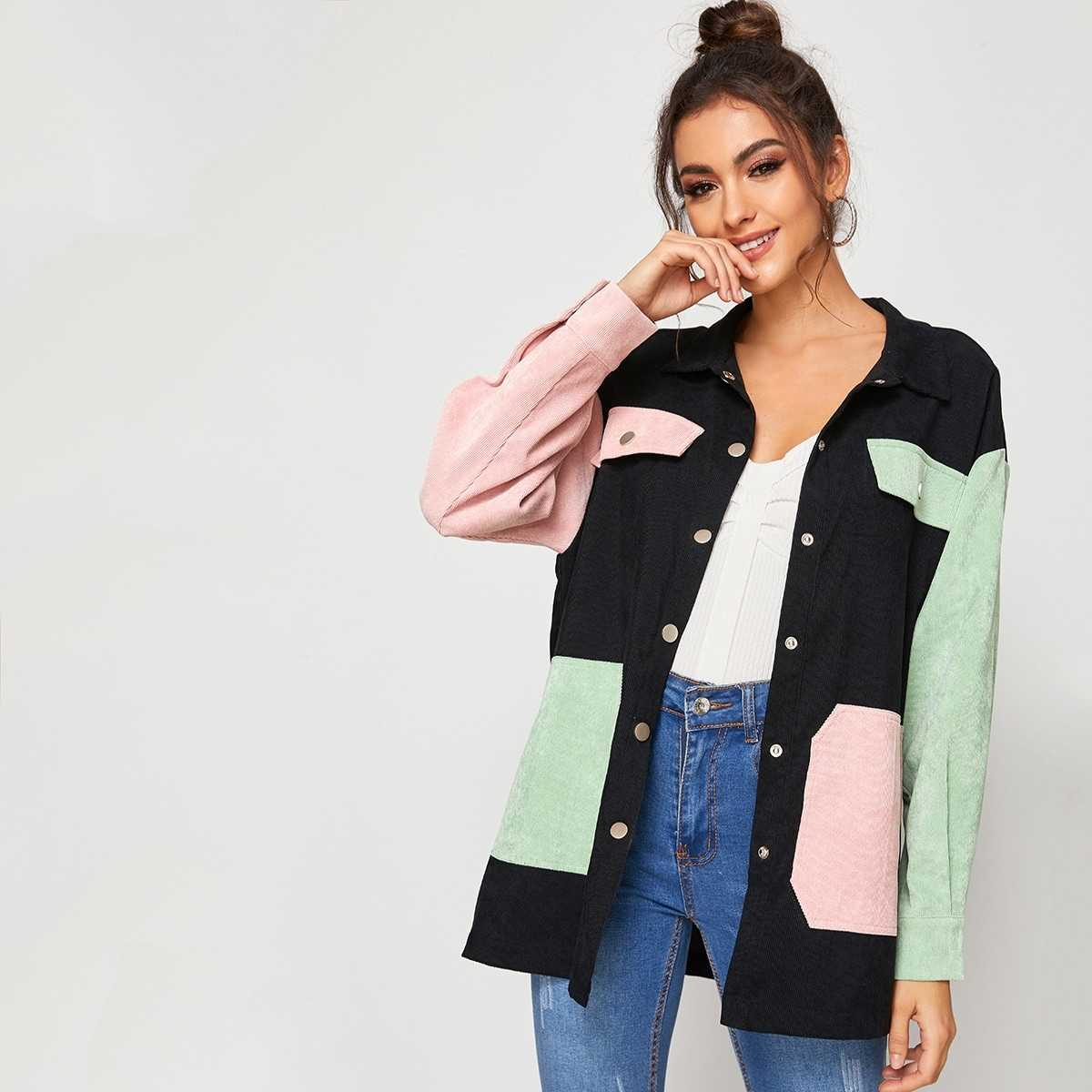 Pocket Side Button Up Colorblock Cord Coat in Multicolor by ROMWE on GOOFASH