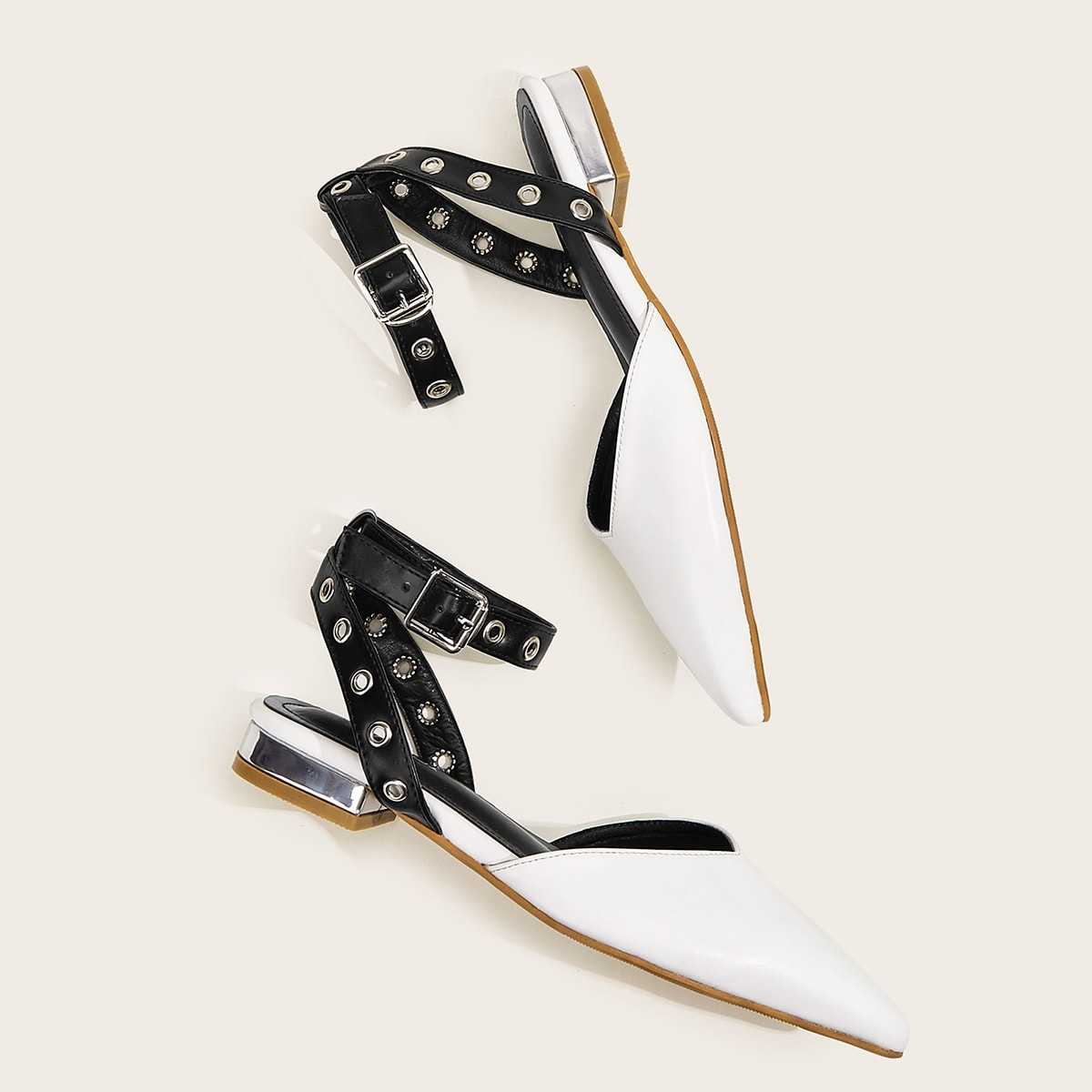 Point Toe Ankle Strap Flats in White by ROMWE on GOOFASH