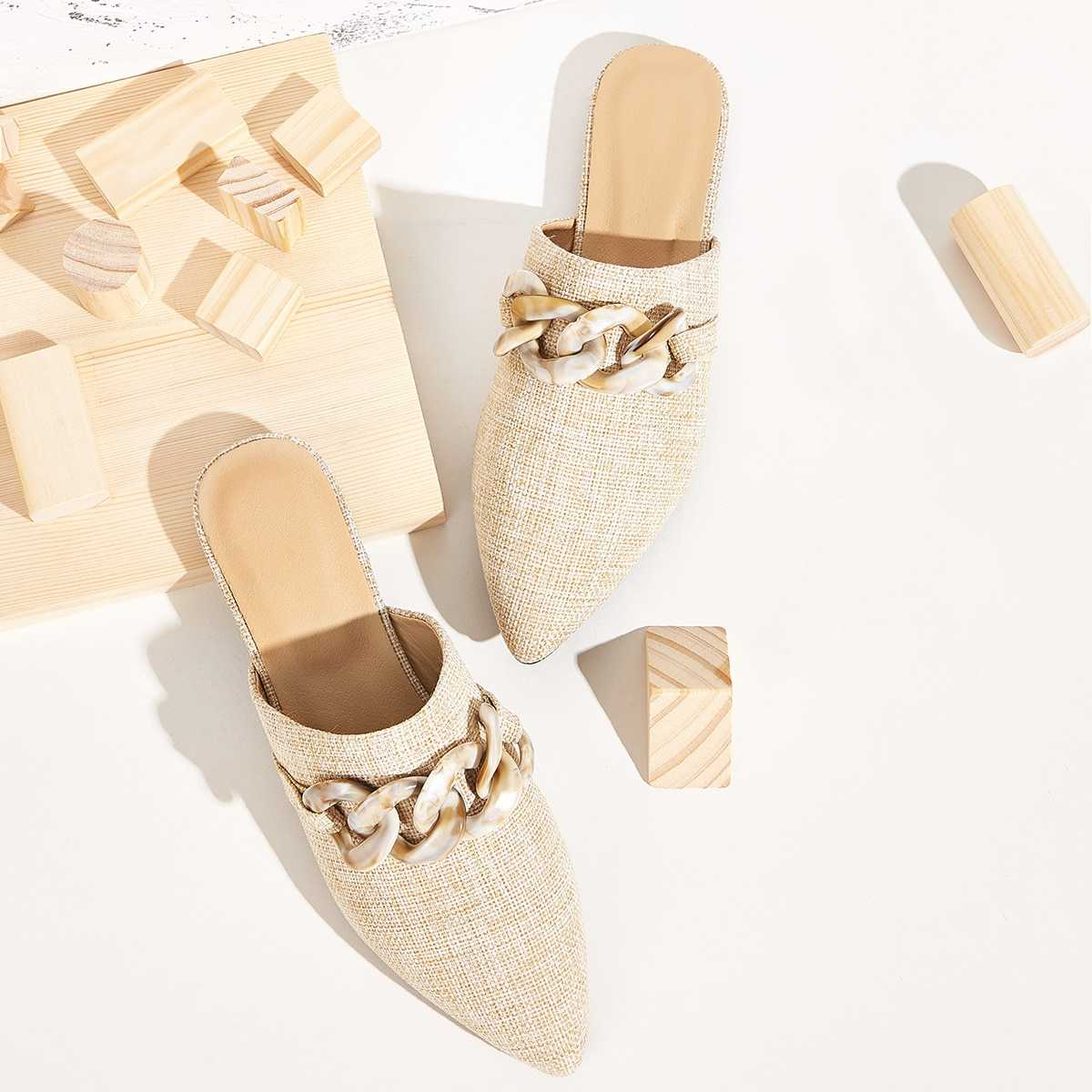 Point Toe Chain Decor Flat Mules in Apricot by ROMWE on GOOFASH