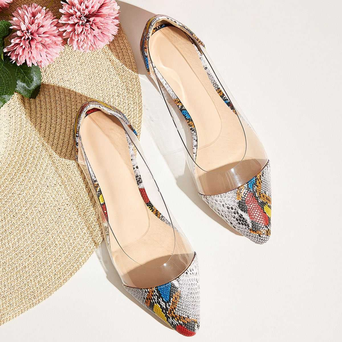 Point Toe Snakeskin Panel Flats in Multicolor by ROMWE on GOOFASH