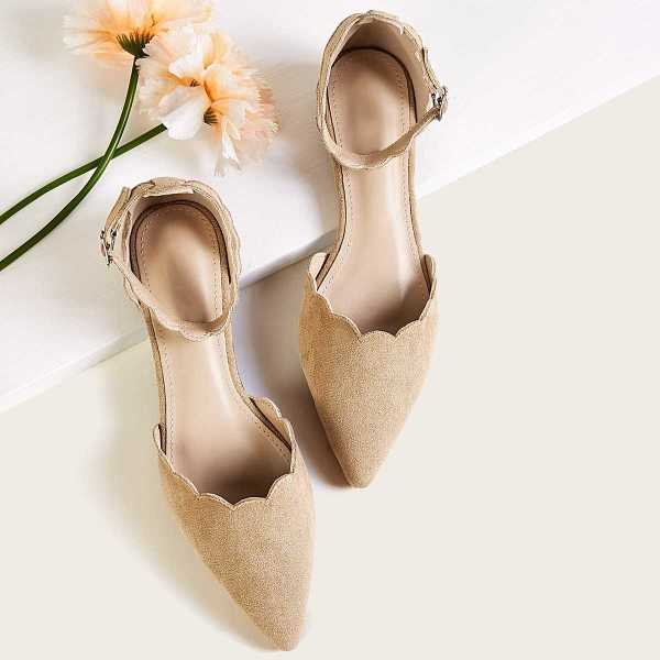 Point Toe Suede Scalloped Ankle Strap Flats in Apricot by ROMWE on GOOFASH
