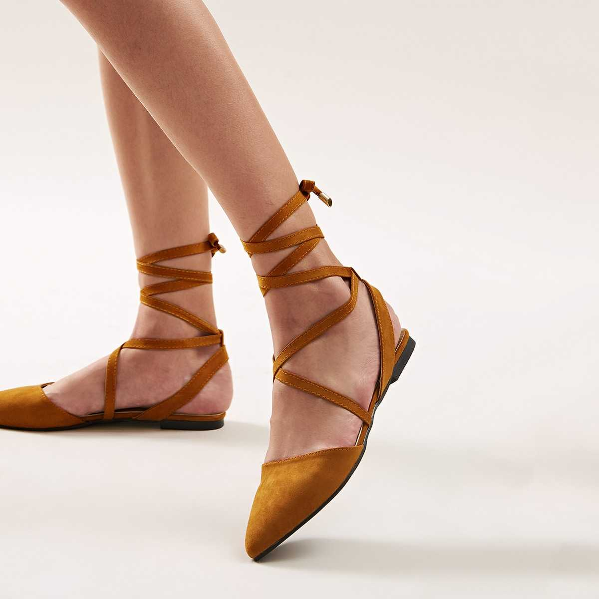 Point Toe Tie Leg Ballet Flats in Brown by ROMWE on GOOFASH