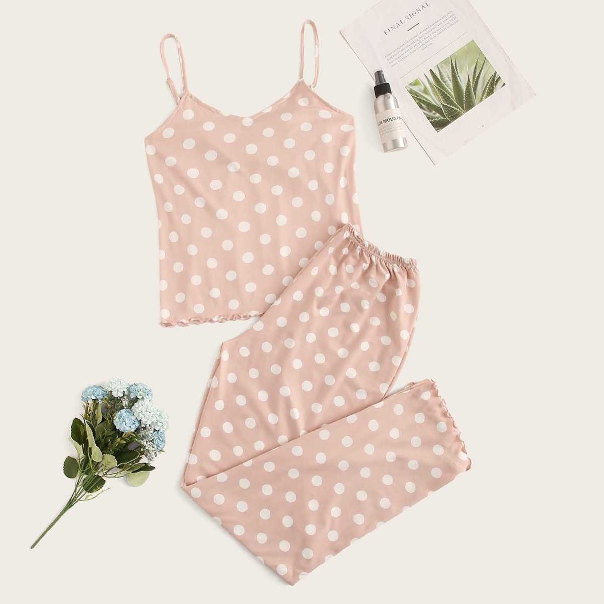 Polka Dot Lettuce Trim Cami Pajama Set in Pink by ROMWE on GOOFASH
