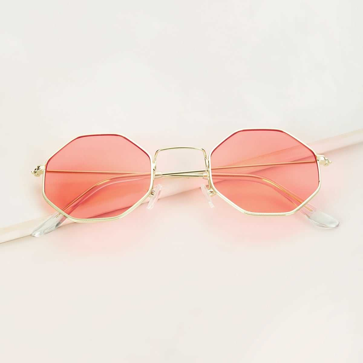 Polygon Frame Tinted Lens Sunglasses in Pink by ROMWE on GOOFASH