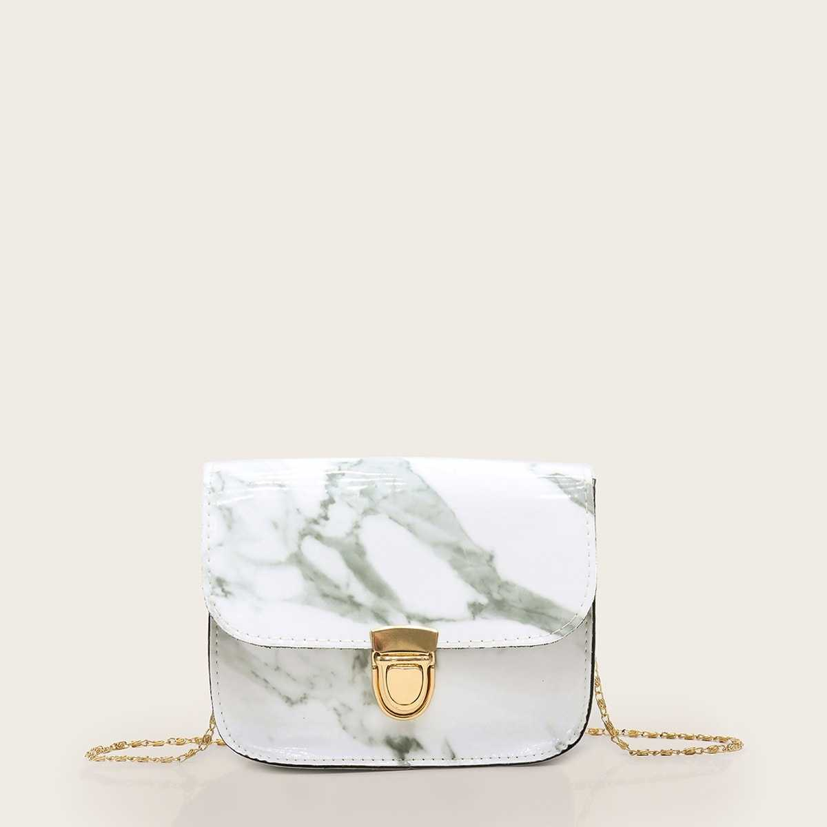 Push Lock Marble Print Chain Bag in Multicolor by ROMWE on GOOFASH