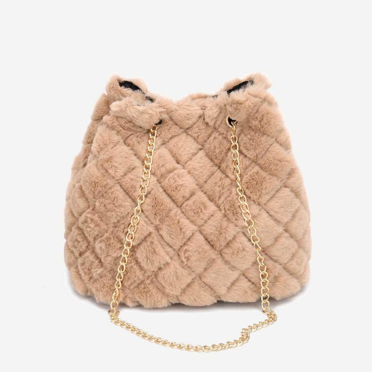 Quilted Detail Fuzzy Chain Tote Bag - Shein - GOOFASH
