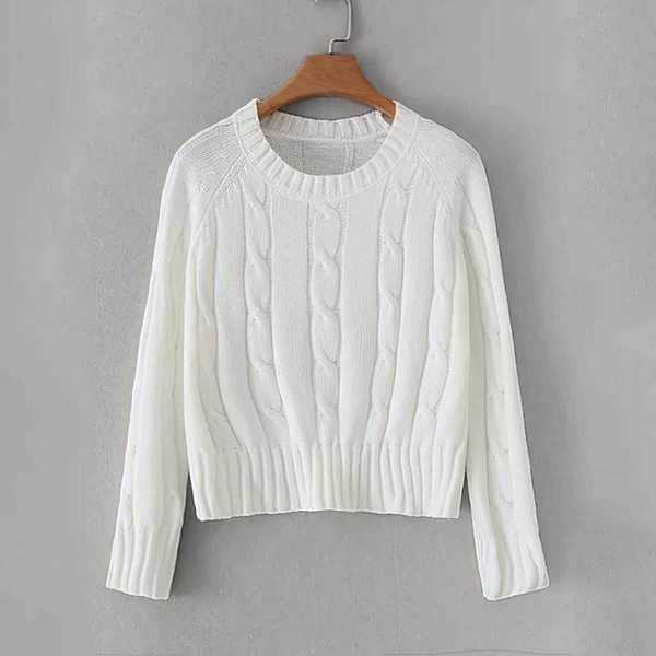 Raglan Sleeve Twist Cable Knit Sweater in White by ROMWE on GOOFASH