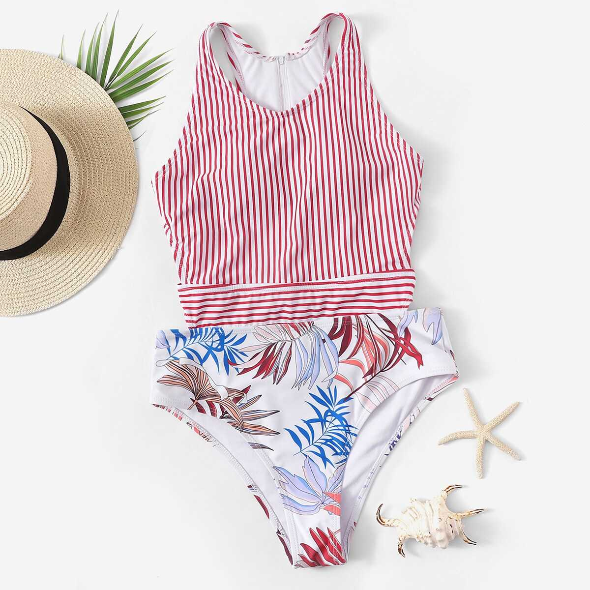 Random Leaf & Striped Cut-out One Piece Swim - Shein - GOOFASH