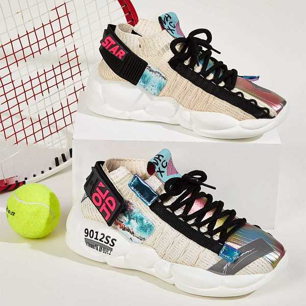 Random Letter Tape Lace-up Chunky Sole Trainers in Multicolor by ROMWE on GOOFASH