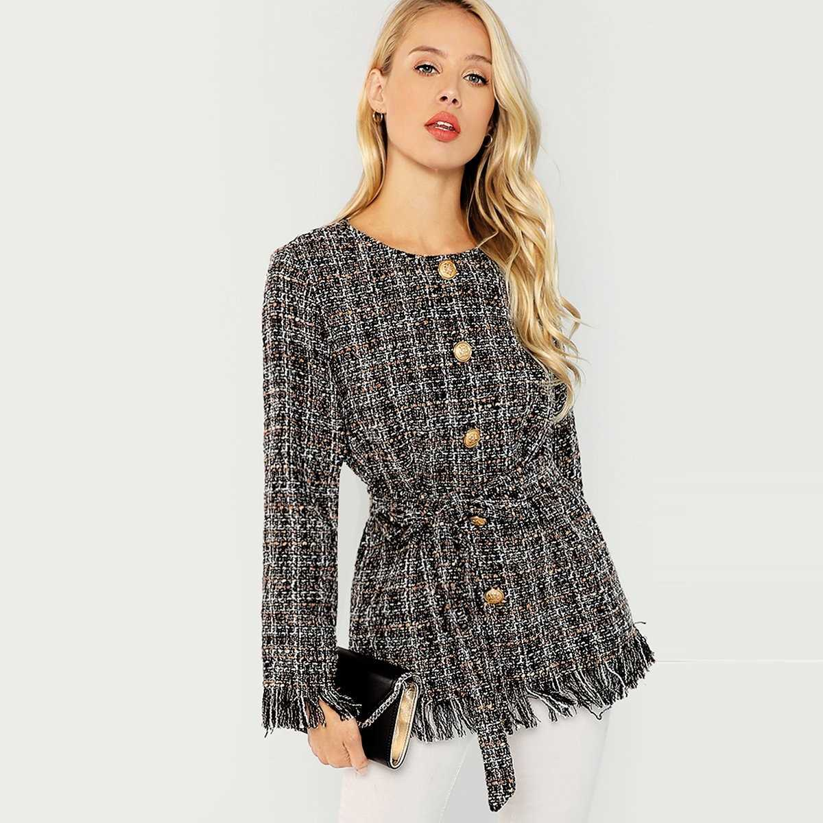 Raw Hem Belted Tweed Coat in Multicolor by ROMWE on GOOFASH