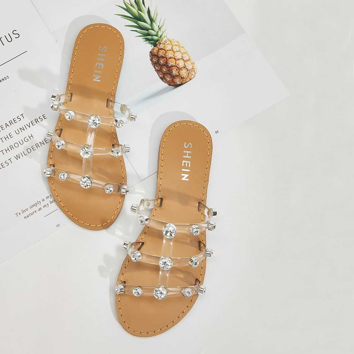 Rhinestone Decor Clear Strap Flat Slippers in Brown by ROMWE on GOOFASH