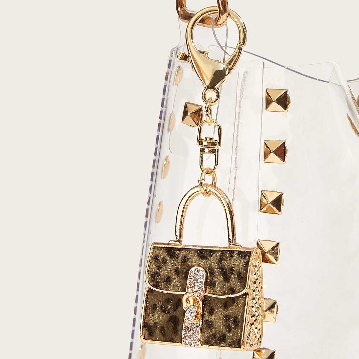 Rhinestone Detail Leopard Satchel Bag Shaped Bag Accessory in Multicolor by ROMWE on GOOFASH