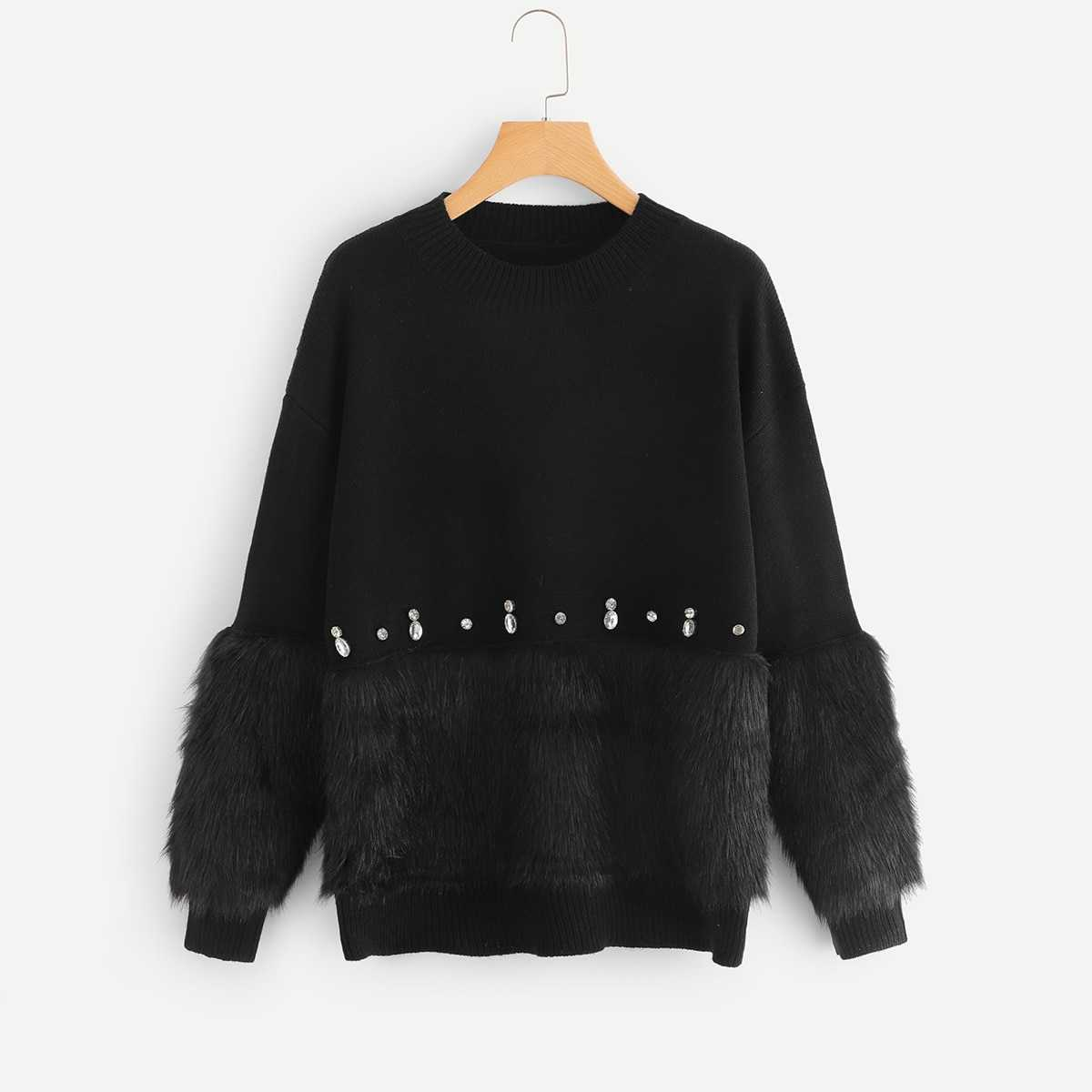 Rhinestone and Faux Fur Embellished Sweater in Black by ROMWE on GOOFASH