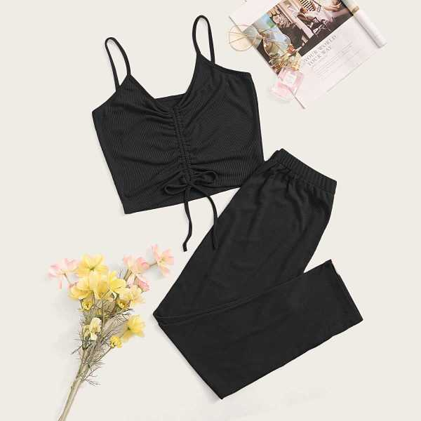 Rib Ruched Cami Top With Pants PJ Set in Black by ROMWE on GOOFASH