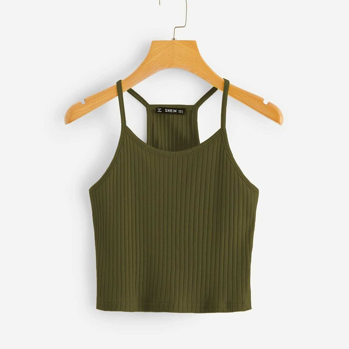 Rib-knit Cami Top in Army Green by ROMWE on GOOFASH