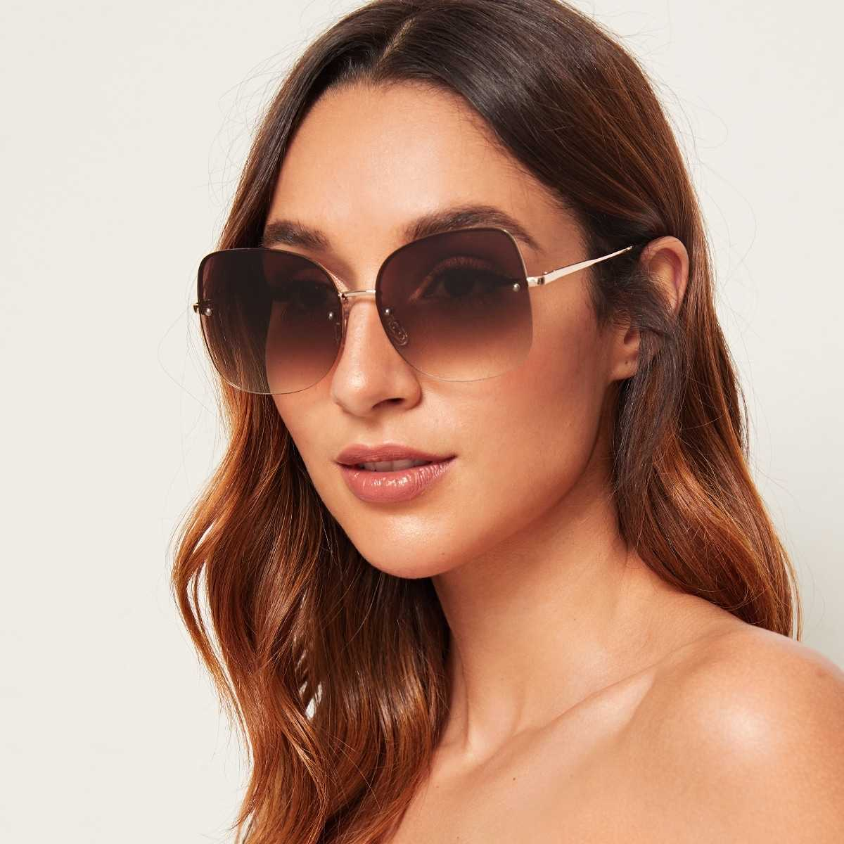 Rimless Flat Lens Sunglasses With Case in Brown by ROMWE on GOOFASH
