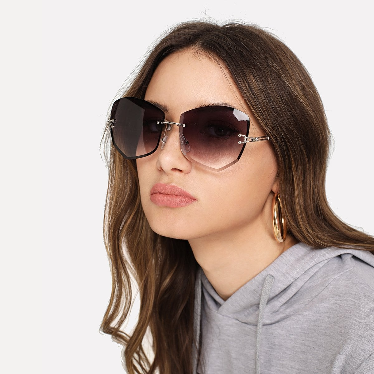 Rimless Ombre Sunglasses in Purple by ROMWE on GOOFASH