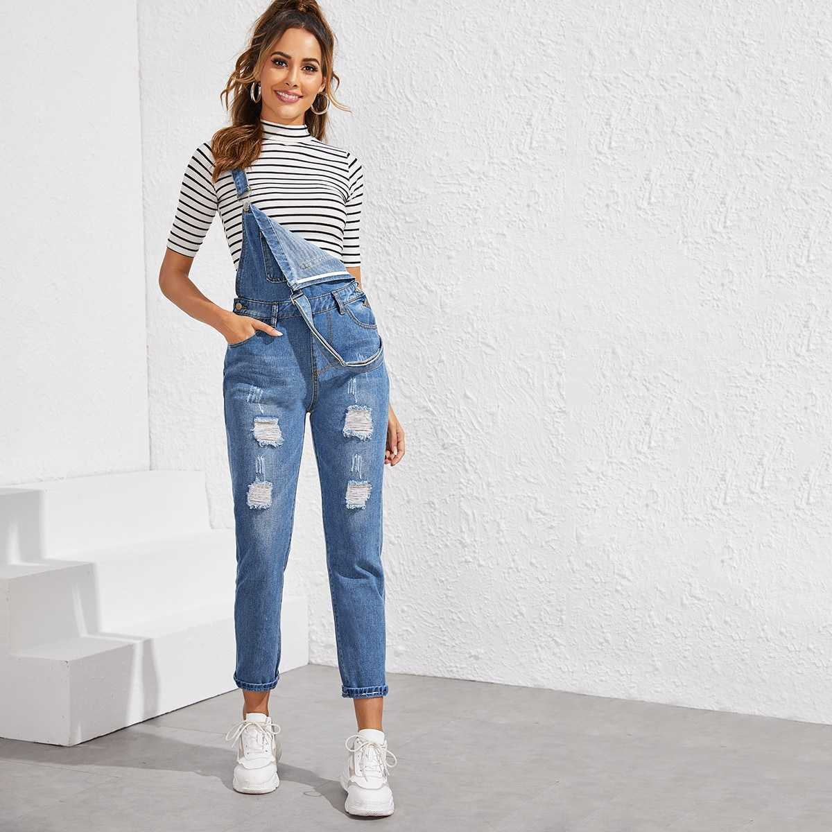Ripped Pocket Front Denim Overall in Blue by ROMWE on GOOFASH