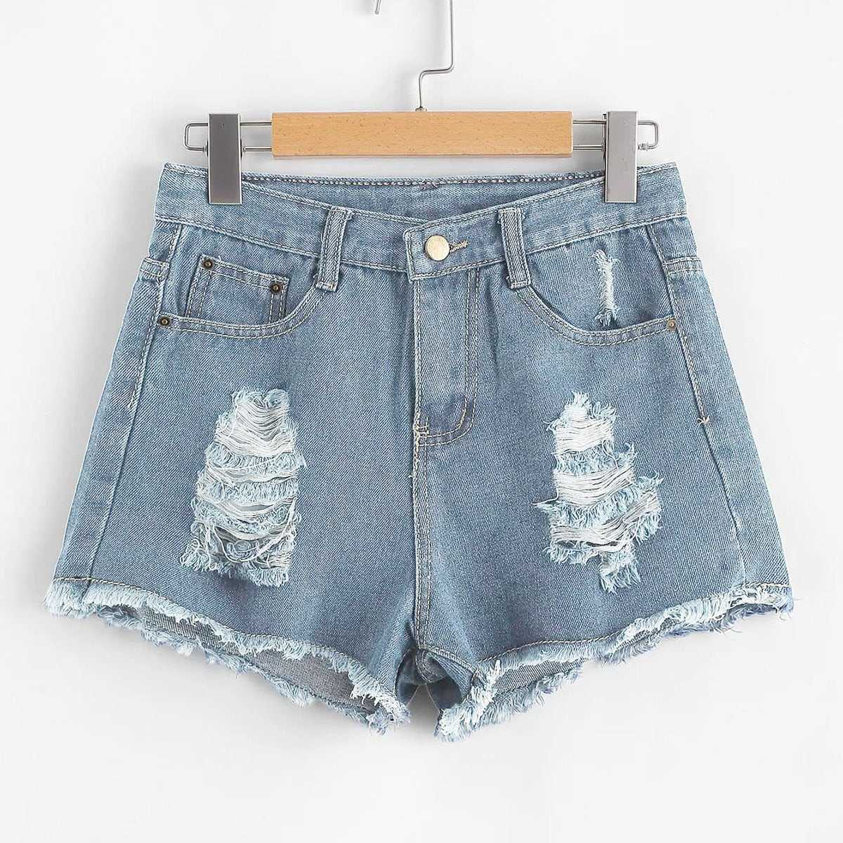 Ripped Raw Hem Denim Shorts in Blue by ROMWE on GOOFASH