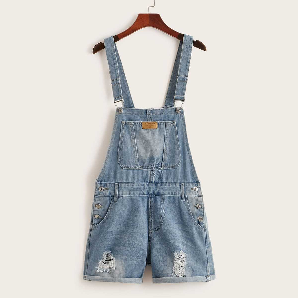 Ripped Rolled Hem Denim Overalls in Blue by ROMWE on GOOFASH