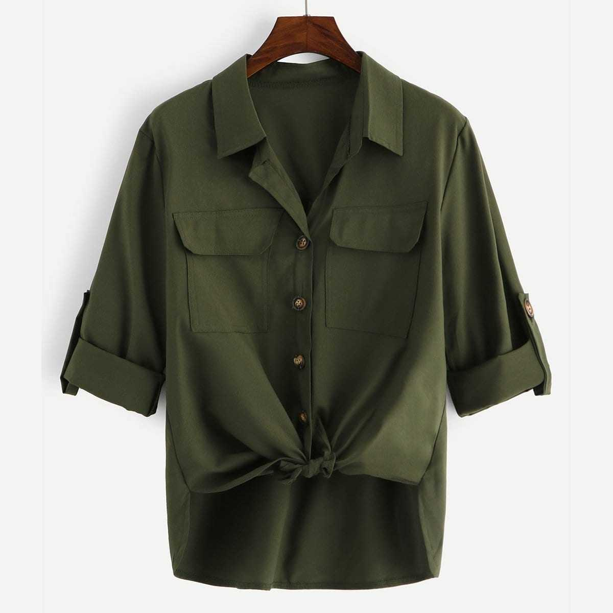 Roll Tab Pocket Knot Utility Shirt in Army Green by ROMWE on GOOFASH