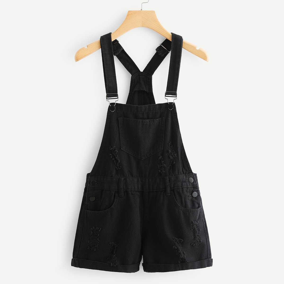Roll Up Hem Ripped Denim Overalls in Black by ROMWE on GOOFASH