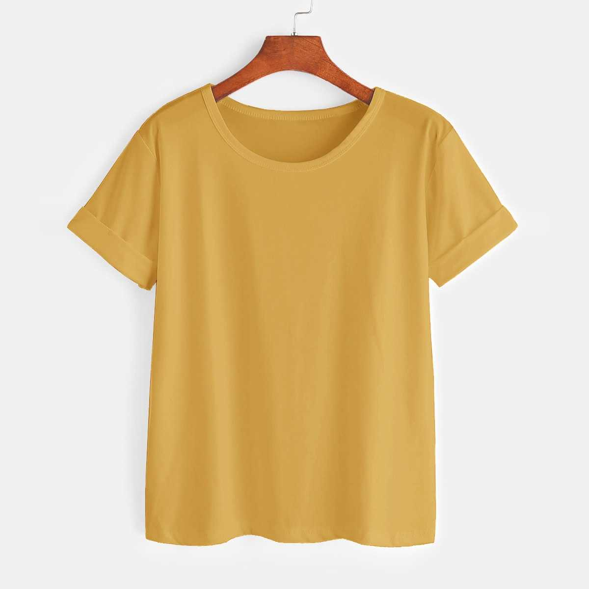 Rolled Cuff Basic Tee in Yellow by ROMWE on GOOFASH