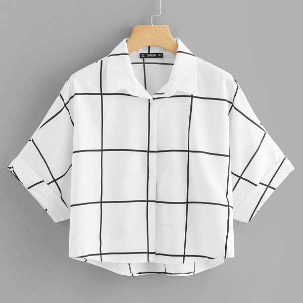 Rolled Sleeve Dip Hem Grid Shirt in Black and White by ROMWE on GOOFASH