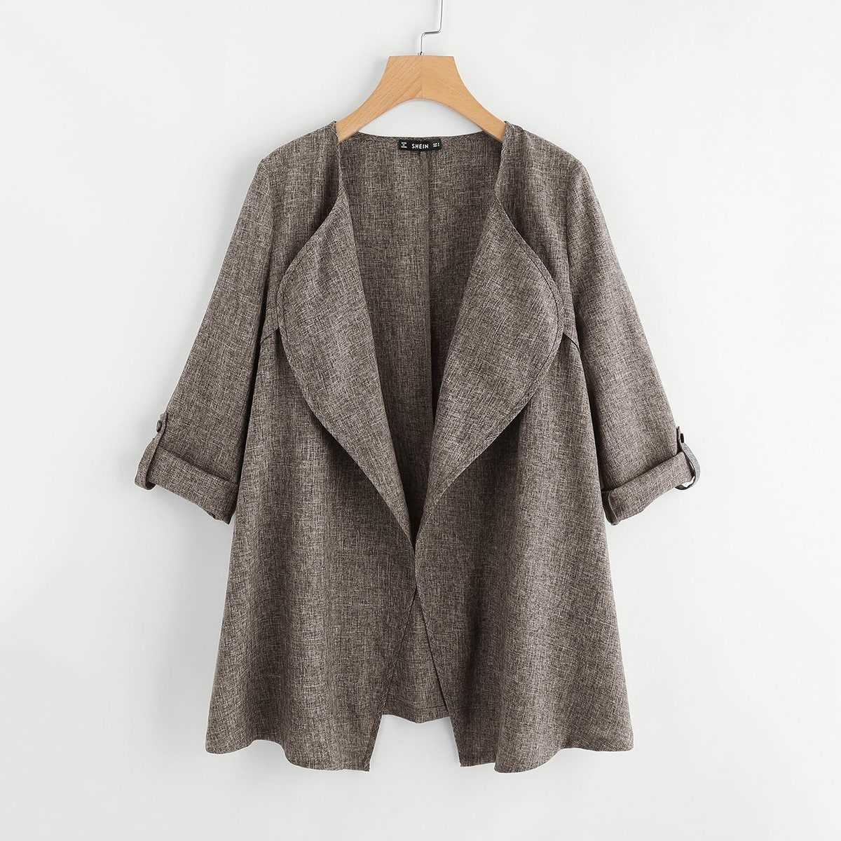 Rolled Up Cuff Drape Collar Marled Coat in Grey by ROMWE on GOOFASH