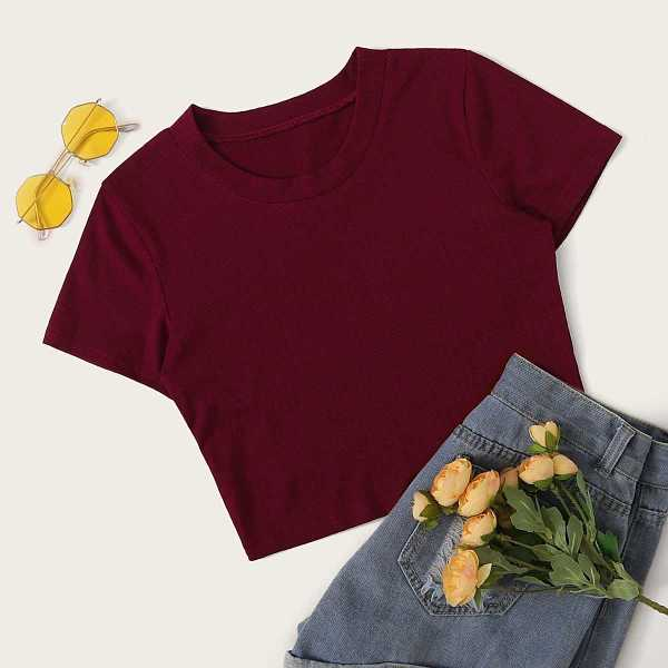 Round Neck Solid Crop Tee in Burgundy by ROMWE on GOOFASH