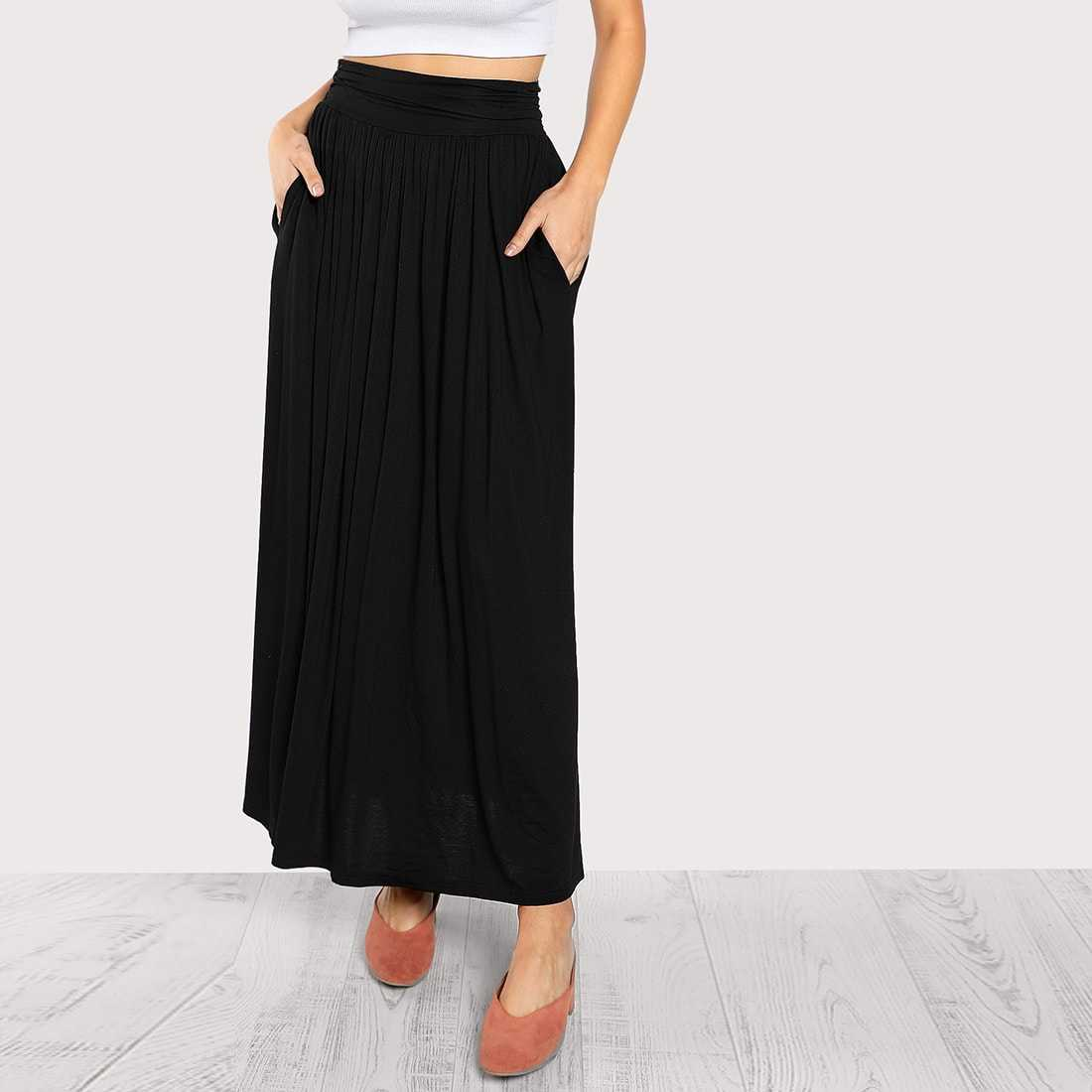 Ruched Waist Jersey Skirt in Black by ROMWE on GOOFASH