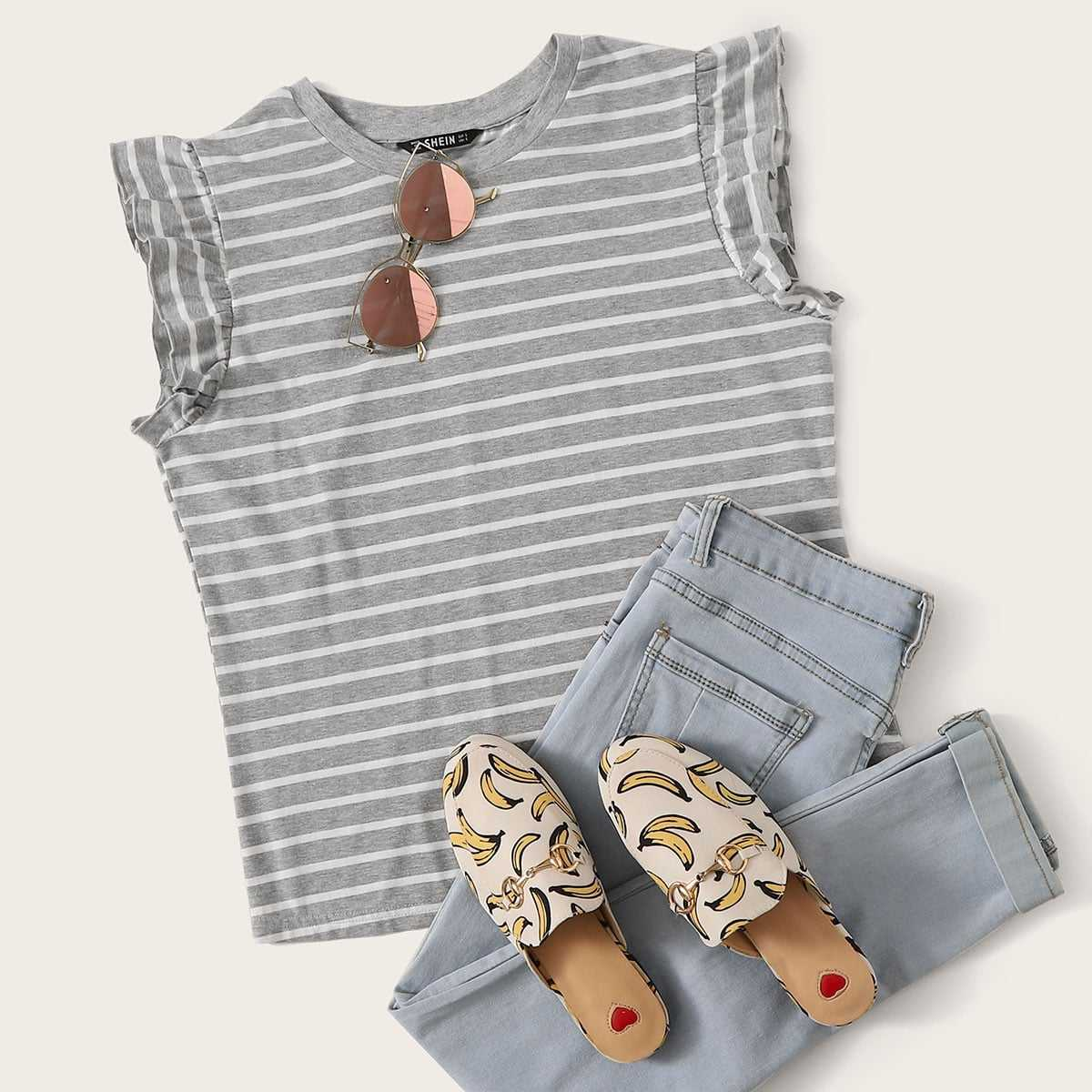 Ruffle Armhole Striped Top in Grey by ROMWE on GOOFASH