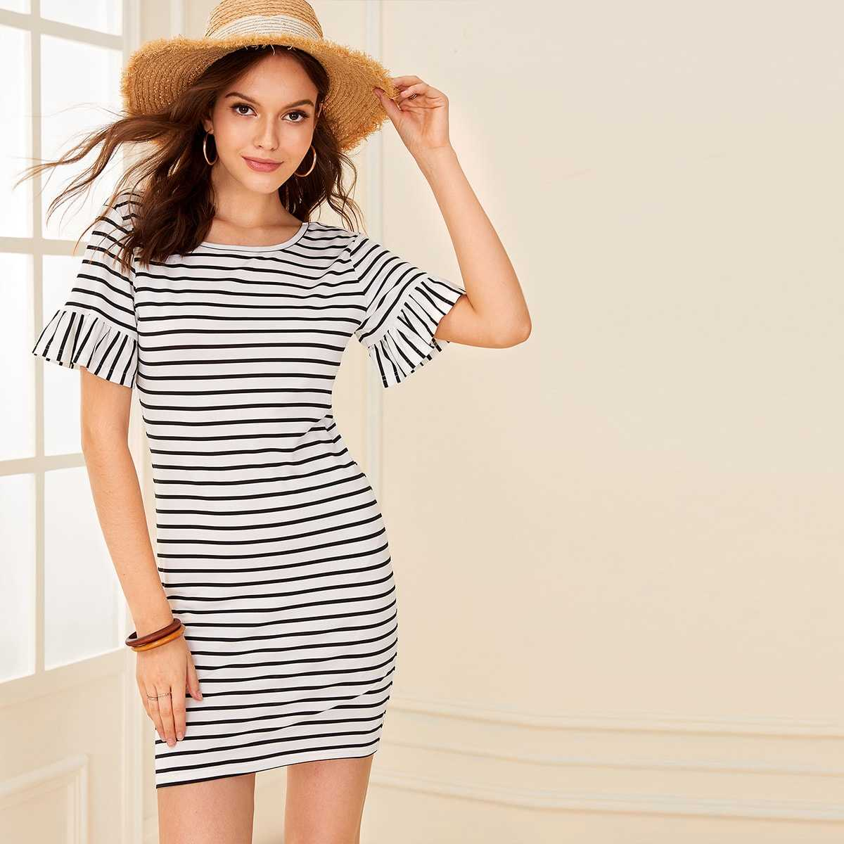 Ruffle Cuff Striped Bodycon Dress in Black and White by ROMWE on GOOFASH