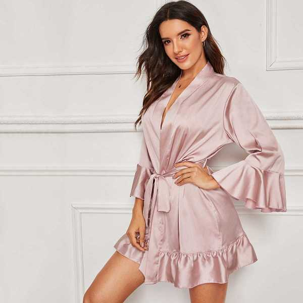 Ruffle Hem Belted Satin Robe in Pink by ROMWE on GOOFASH