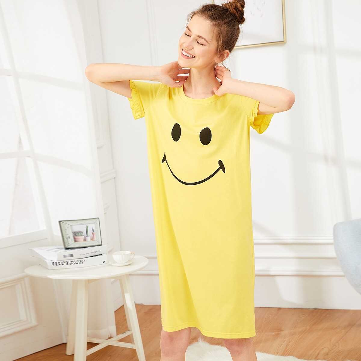 Ruffle Sleeve Smile Print Night Dress in Yellow by ROMWE on GOOFASH