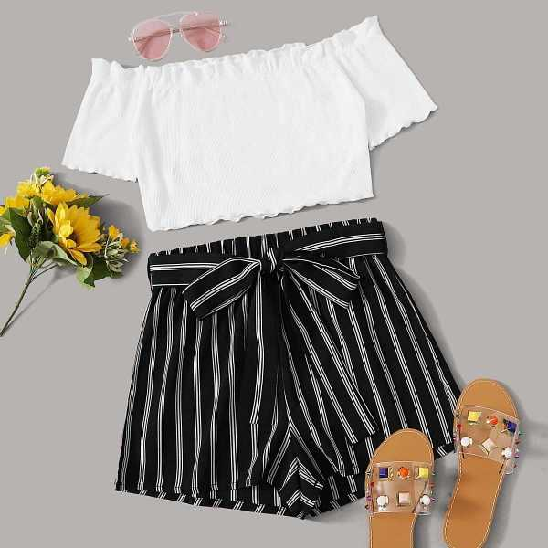 Ruffle Trim Bardot Top & Belted Striped Shorts Set in Black and White by ROMWE on GOOFASH