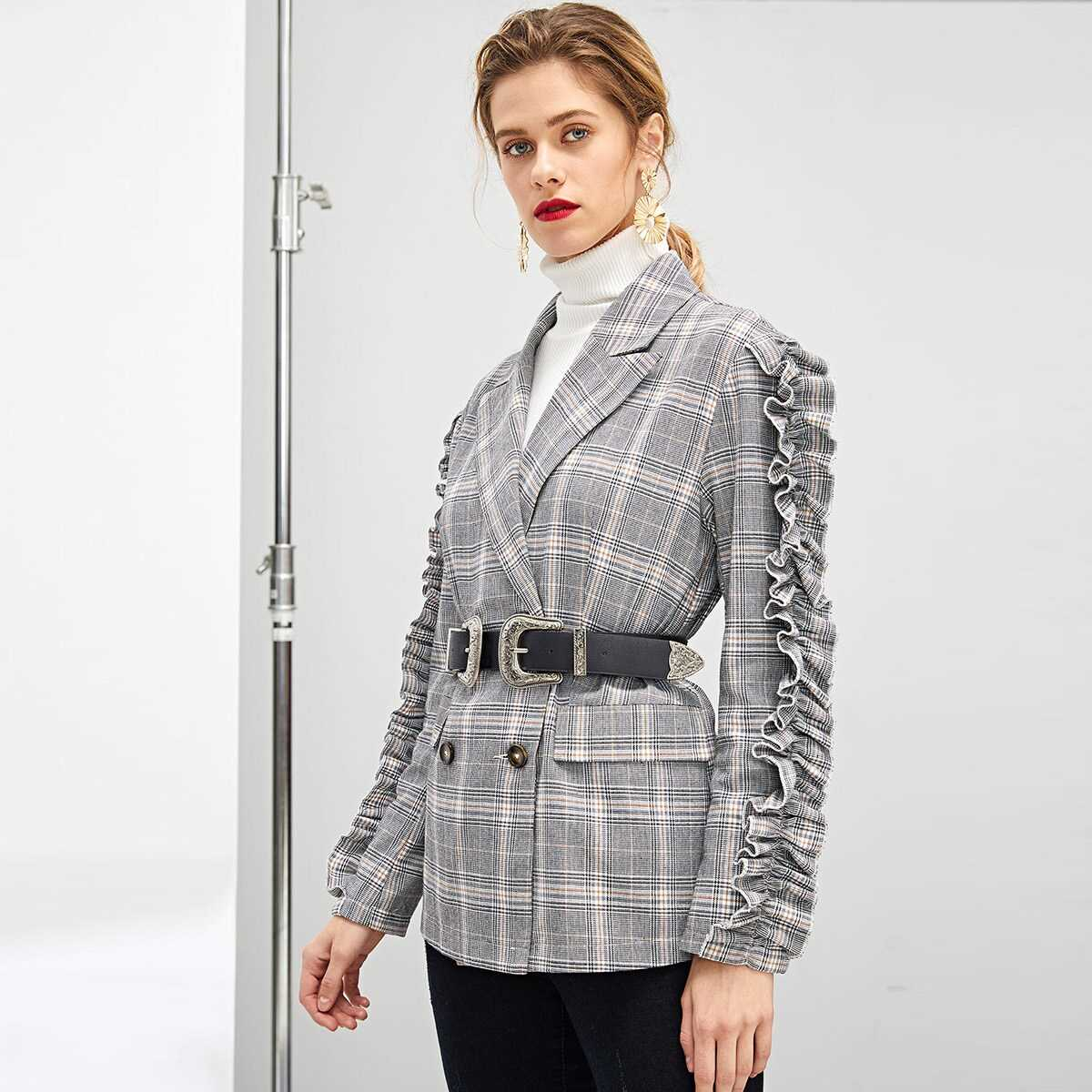 Ruffle Trim Double Breasted Plaid Blazer Without Belt - Shein - GOOFASH
