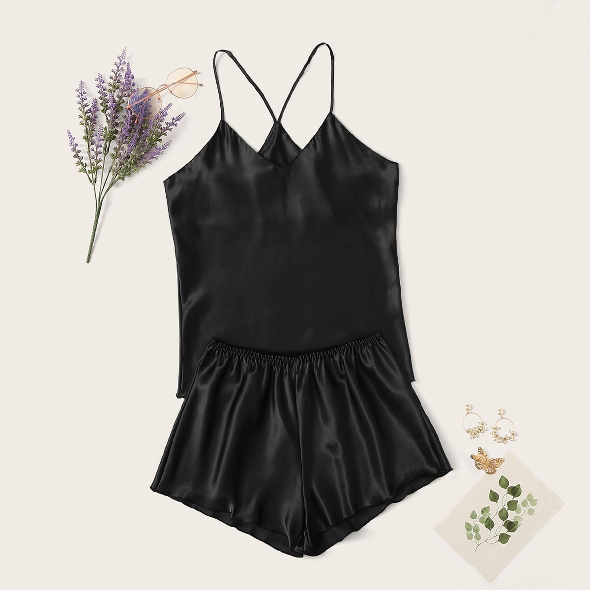 Satin Cami Top With Shorts PJ Set in Black by ROMWE on GOOFASH