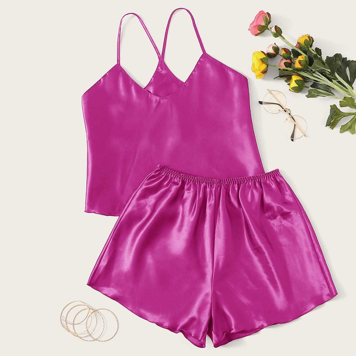Satin Cami Top With Shorts PJ Set in Pink Bright by ROMWE on GOOFASH